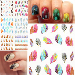 Glitter Leopard Peacock Feather Nail Art Stickers Cat Nail Decals