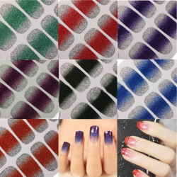 Glitter Shiny Nail Wraps Polish Stickers Foils Art Decals Adhesive