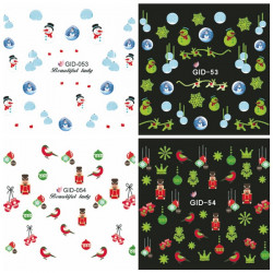 Glow In Night Christmas Bird Star Water Transfer Decals Nail Sticker