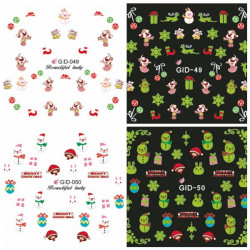Glow In Night Christmas Rabbit Water Transfer Decals Nail Sticker