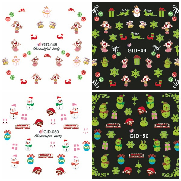 Glow In Night Christmas Rabbit Water Transfer Decals Nail Sticker Nail Art