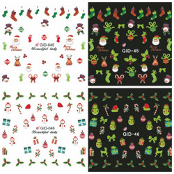Glow In Night Christmas Red Sock Water Transfer Decals Nail Sticker