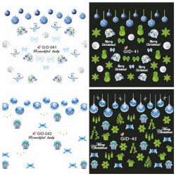 Glow in Night Christmas Snowflake Water Transfer Decals Nail Sticker