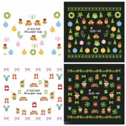 Glow in Night Christmas Water Transfer Decals Nail Luminous Sticker