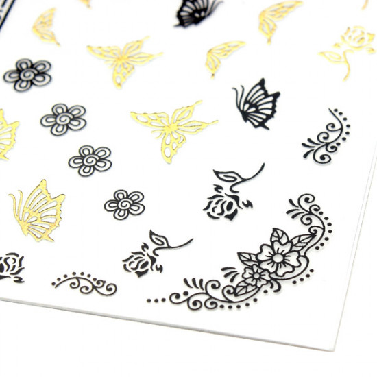 Gold Black Butterfly Flower Lace Adhesive Nail Art Sticker Decal 2021