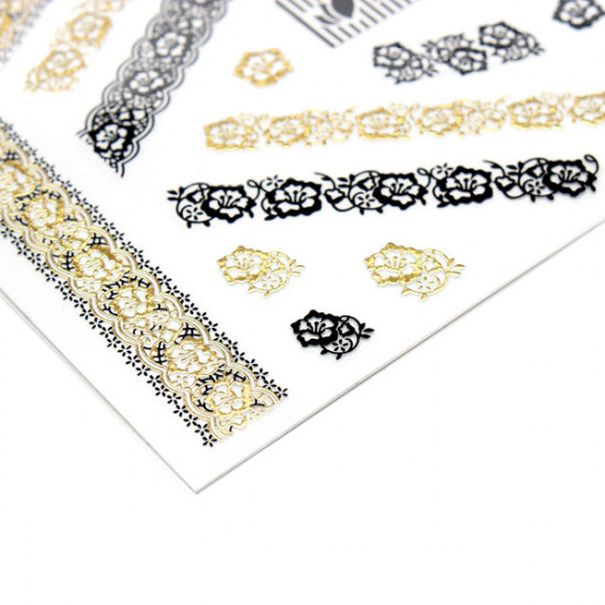 Gold Black Lace Flower Adhesive Nail Art Sticker Decal 2021