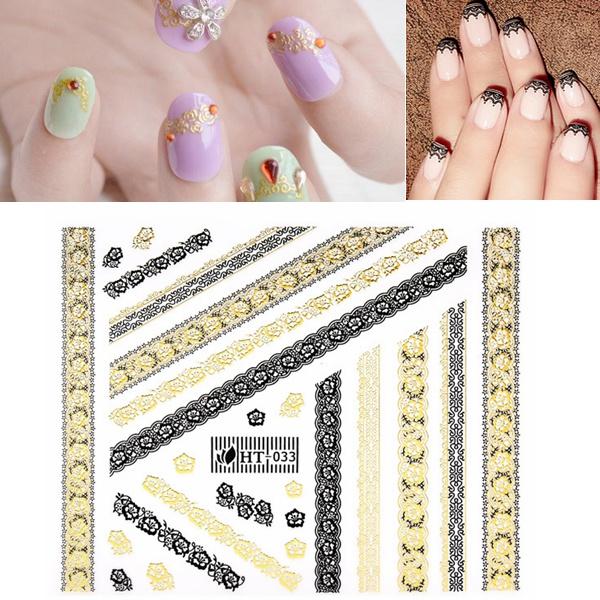 Gold Black Lace Flower Adhesive Nail Art Sticker Decal Nail Art
