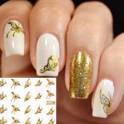 Gold Butterfly Design Water Transfer Nail Sticker Decal