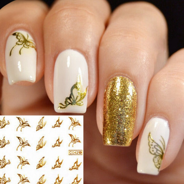 Gold Butterfly Design Water Transfer Nail Sticker Decal Nail Art