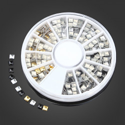 Gold Silver Black Square DIY Nail Art Decoration Wheel