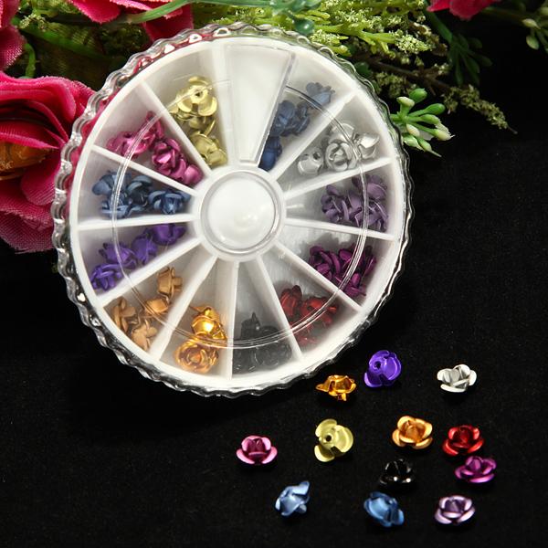 Grid Case Nail Art Tips Flower Rose Decorations Wheel