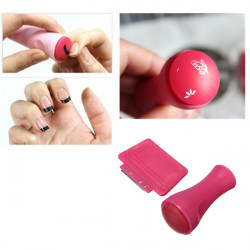 Hot Pink Paint Stamp Scraper Set Nail Art Stamping Decoration
