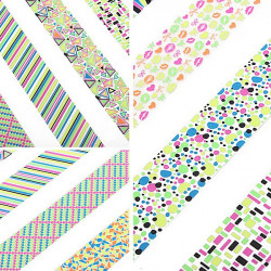 Large Sheet Geometric Pattern Fluorescence Color Nail Art Sticker