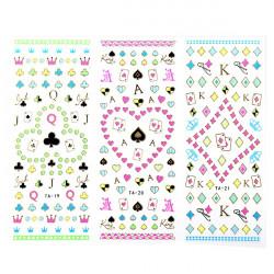 Large Sheet Poker Flower Decal Fluorescence Color Nail Art Sticker