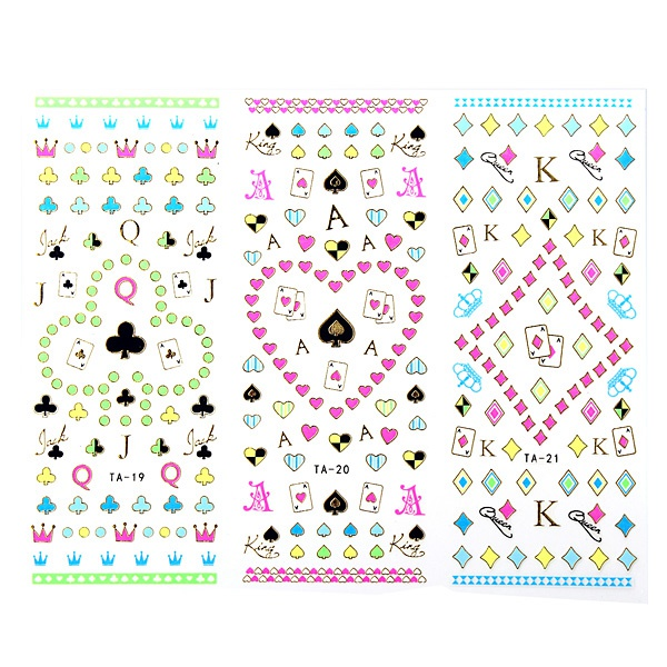 Large Sheet Poker Flower Decal Fluorescence Color Nail Art Sticker Nail Art