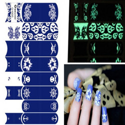 Luminous Square Grid Noctilucent Decal Pirate Nail Art Sticker