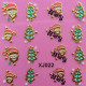 Metal Gold 3D Christmas Series Elk Snowflake Nail Art Sticker 2021