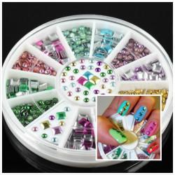 Mini Cute Square Round Stud Nail Art Decoration Wheel