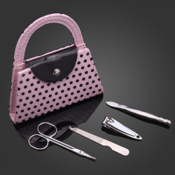 Mini Pink Dot Bag Nail File Clipper Manicure Set