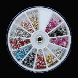 Mix Colors Size Metal Round Stud Nail Art Decoration Wheel