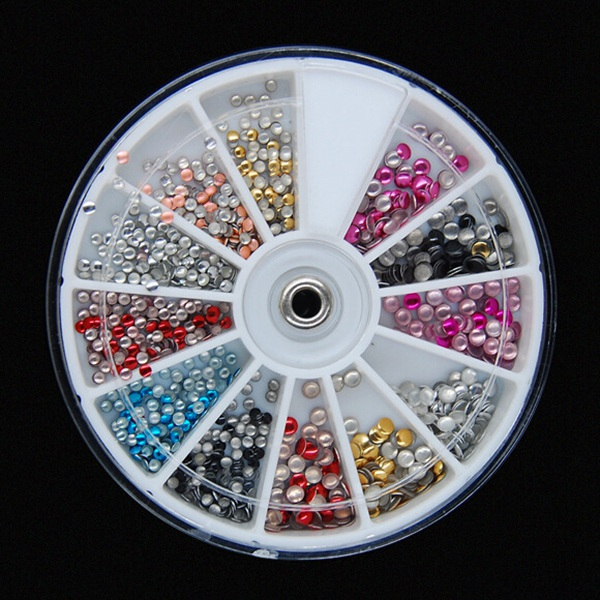 Mix Colors Size Metal Round Stud Nail Art Decoration Wheel Nail Art