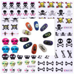 Mixed 11 Styles BLE1192-1202 Skull Nail Art Decals Water Stickers Nail Art