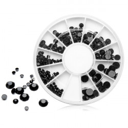 Mixed 4 Sizes Black Acrylic Rhinestone Nail Decoration Wheel