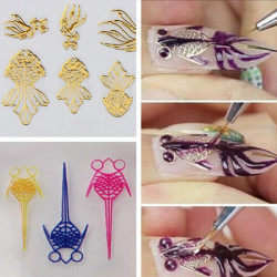 Multi Color 3D Goldfish Hollow Out Nail Stickers