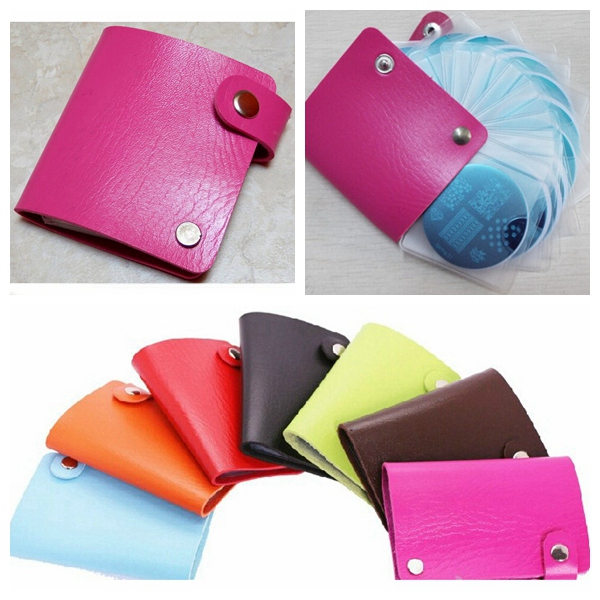 Nail Art Stamping Plate Cases Round Square Stamper Holder Bag Nail Art