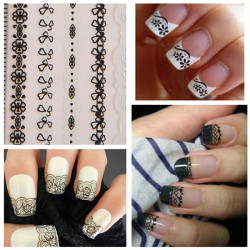 Nail Art Sticker Black Lace Decal Tips Decorations