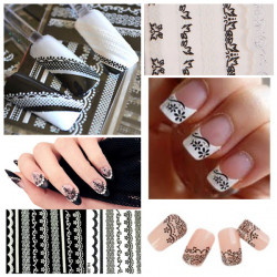 Nail Art Sticker White Black Lace Decal Tips Decorations