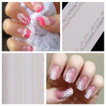 Nail Art Sticker White Lace Decal Tips Decorations Nail Art