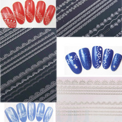 Nail Art Tips DIY Glitter Silver Lace Water Transfer Decals Sticker