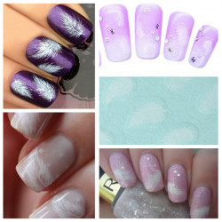 Nail Art Tips White Swan Fluffy Feather Water Transfer Decal Stickers