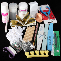 Nail Art UV Gel Acrylic Liquid Powder Buffer File Pen Decorations Set