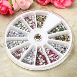 Nail Tips Studs Metallic Roundness Squaer Manicure Decoration Wheel