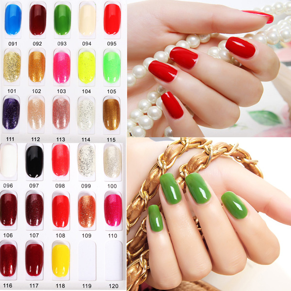 OUJINGJIA 091-118 Shimmer&Pure Colors Soak Off UV Gel Nail Polish Nail Art