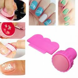 Pink Nail Art Polish Stamper Stamping Scraper Set