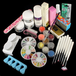 Powder Liquid Glitter Strip Nail Art UV Gel Tips Full Set