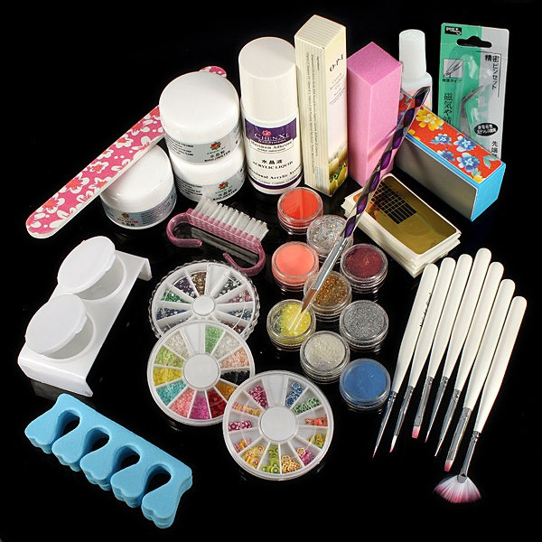 Buy Powder Liquid Glitter Strip Nail Art UV Gel Tips Full Set | Crea ...