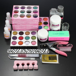 Pro Acrylic Powder Liquid Glitter Beads Brush Nail Art Tool Set Kit