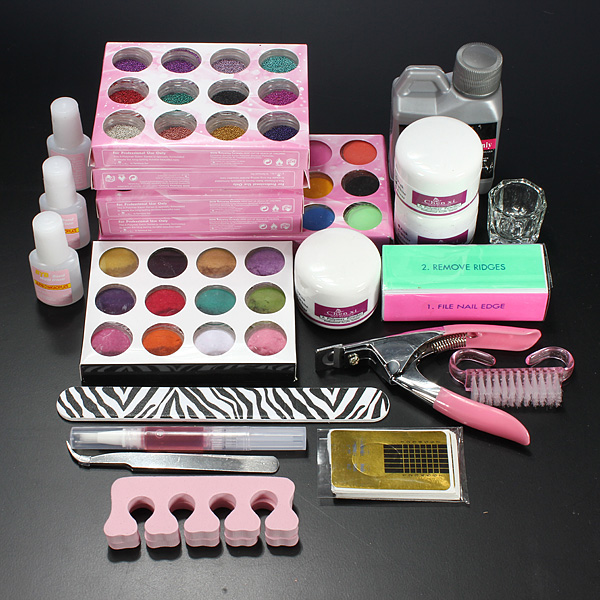 Pro Acrylic Powder Liquid Glitter Beads Brush Nail Art Tool Set Kit Nail Art