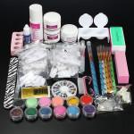 Pro Glitter Acrylic Powder Brush Tweezer Primer Nail Art Tips Kit Set Nail Art