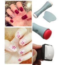 Professional Salon Manicure Tool Silicone Nail Art Stamp Scraper Set