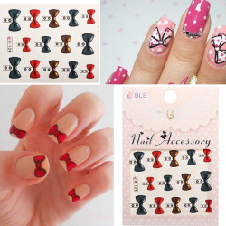 Red Golden Bowknot Nail Art Stickers Butterfly Knot Nail Deco