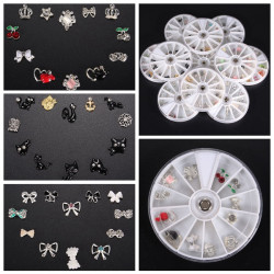 Rhinestone Flower Cat Cross Bowknot Nail Art Decoration Wheel