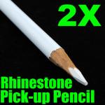 Set of 2 White Magical Nail Rhinestones Pick-Up Pencils Nail Art