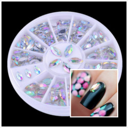Shiny Oval Rhinestone Acrylic Nail Art Decoration Wheel