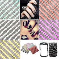 Square Mosaic Decal Design Glitter Nail Art Sticker