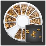 Square Round Gold Rivet Metal DIY Nail Art Decoration Wheel Nail Art